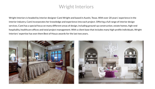 Cami Wright Top 25 Designers in TX