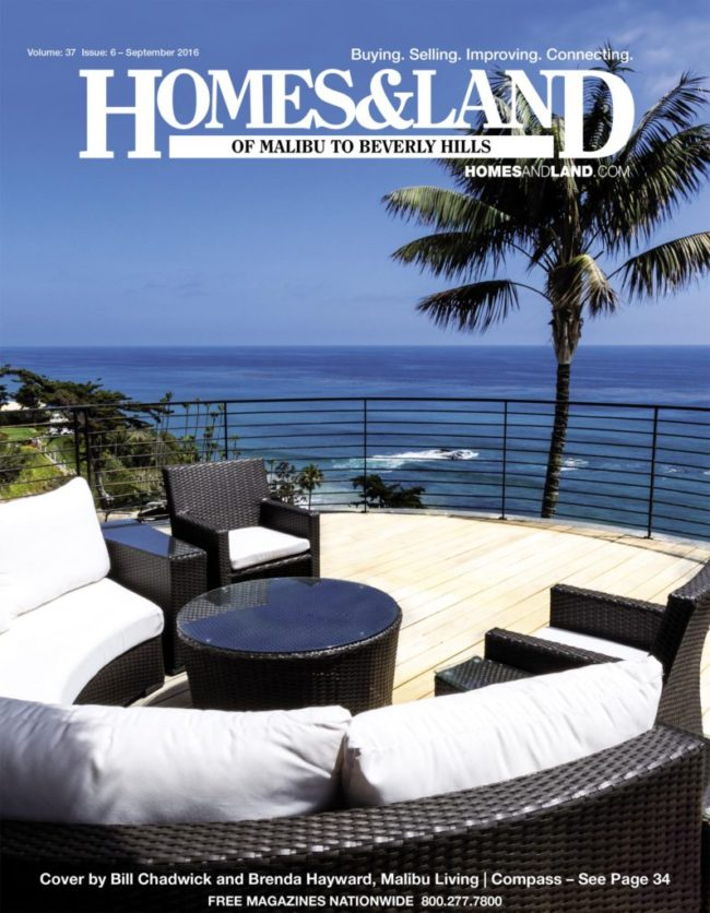 Malibu Beach Estate on the Cover of Homes & Land of Malibu to Beverly Hills
